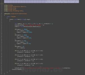 programacion en c#: productos de cifras diferentes