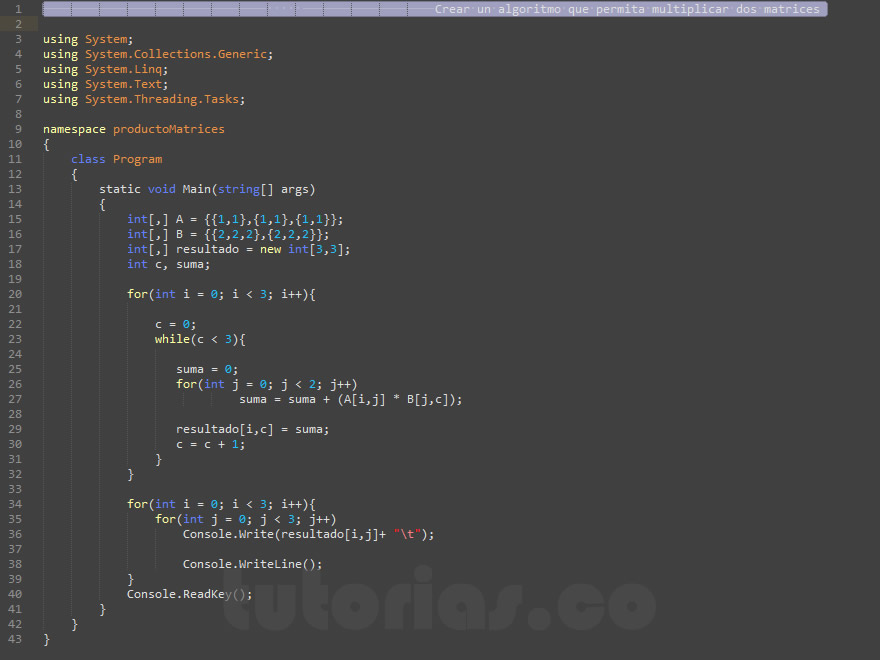 programacion en c#: producto entre dos matrices