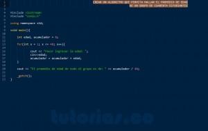 programacion en C++: hallar el promedio de edad