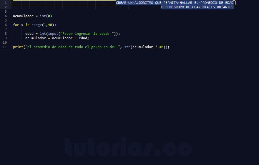 programacion en python: hallar el promedio de edad