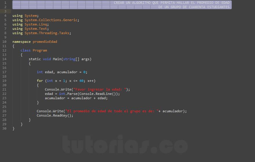 programacion en c#: hallar el promedio de edad