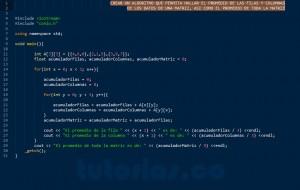 programacion en C++: promedio filas columnas de una matriz