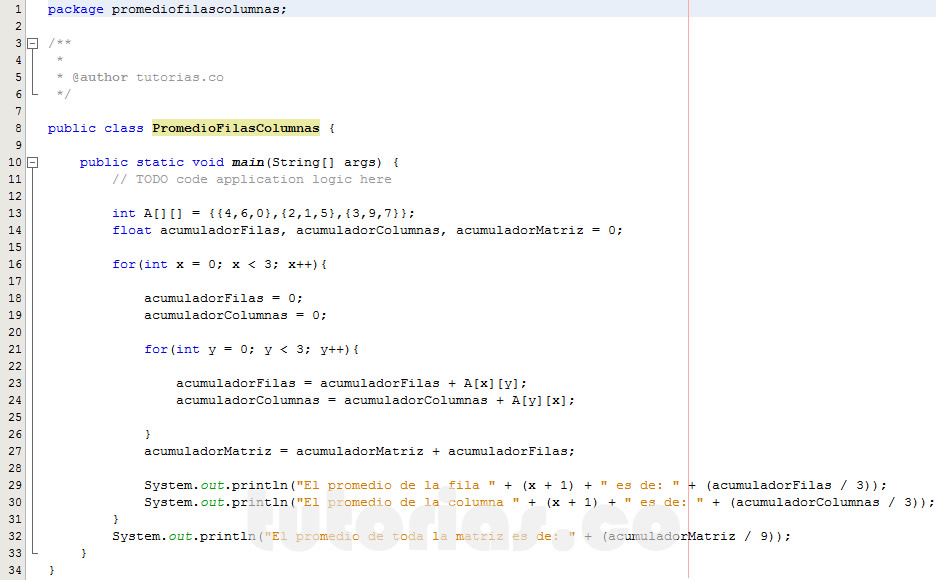 programacion en java: promedio filas columnas de una matriz