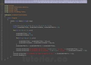 programacion en c#: promedio filas columnas de una matriz