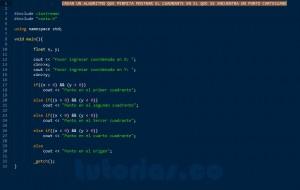 programacion en C++: cuadrante de un punto sobre el plano