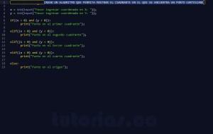 programacion en python: cuadrante de un punto sobre el plano