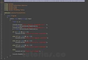 programacion en c#: cuadrante de un punto sobre el plano