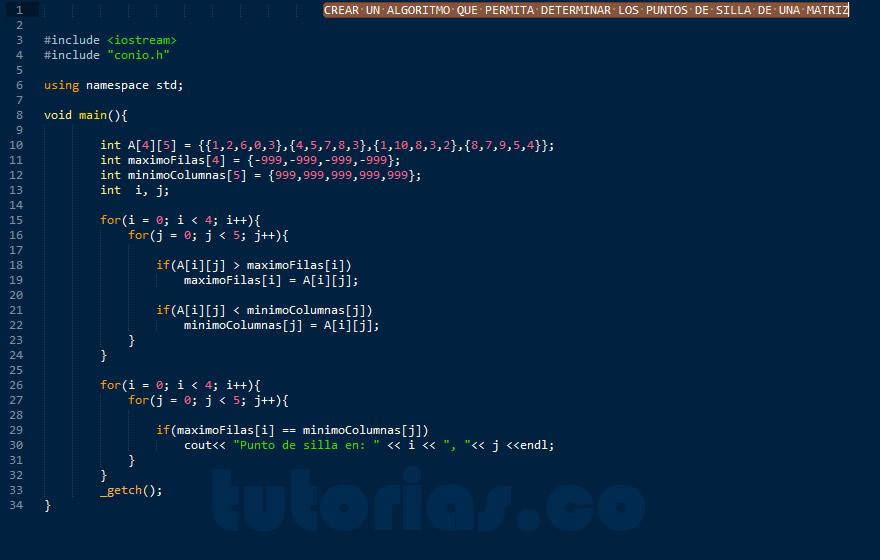 programacion en C++: puntos de silla de una matriz
