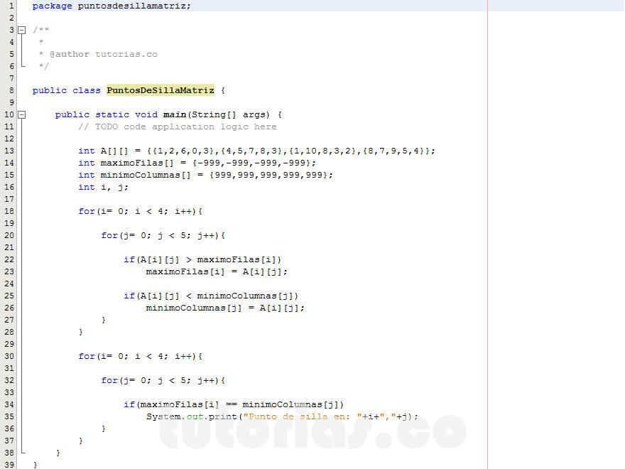 programacion en java: puntos de silla matriz