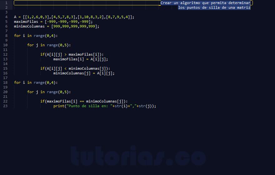 programacion en python: puntos de silla