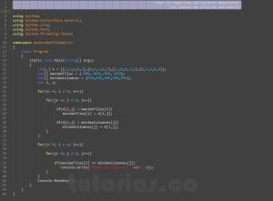 programacion en c#: puntos de silla matriz