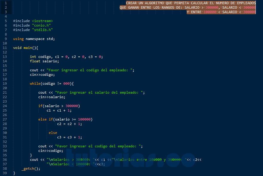 programacion en C++: hallar cantidad de personas con rango de salario