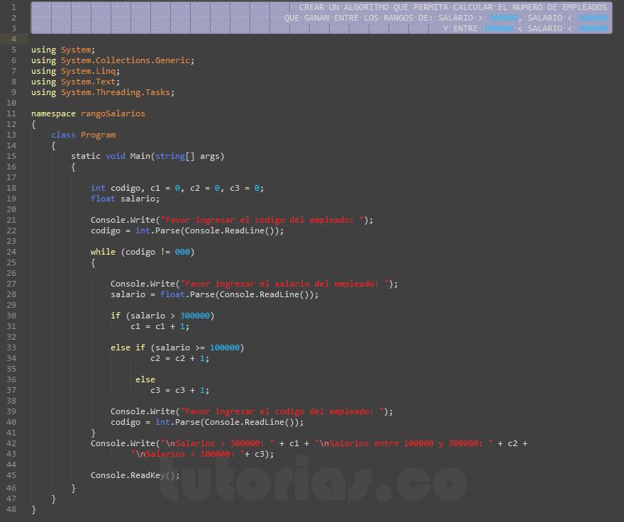 programacion en c#: hallar cantidad de personas con rango de salario