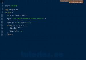 programacion en C++: serie fibonacci