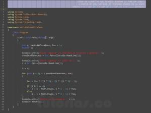 programacion en c#: serie matematica SENO