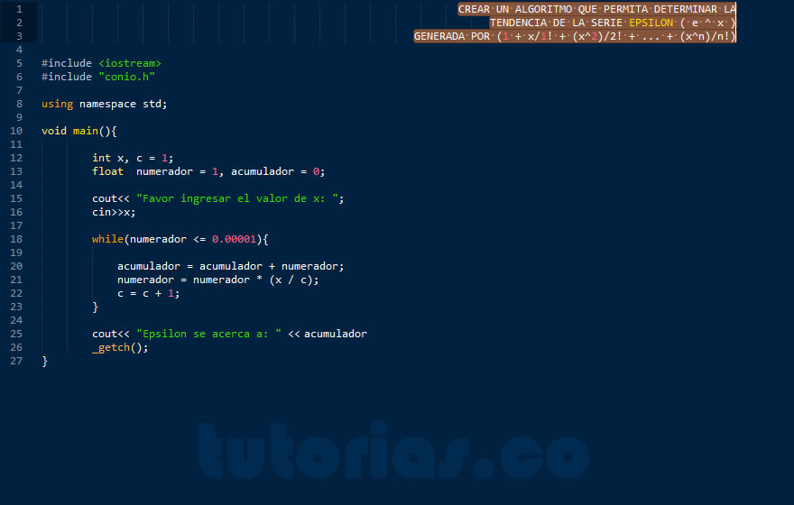 programacion en C++: serie matematica epsilon