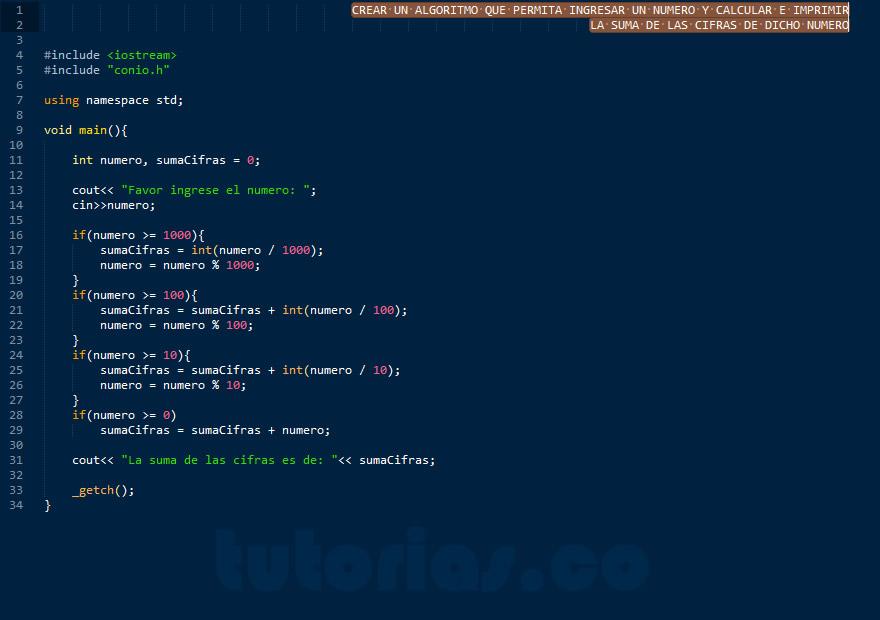 programacion en C++: suma de cifras de un numero
