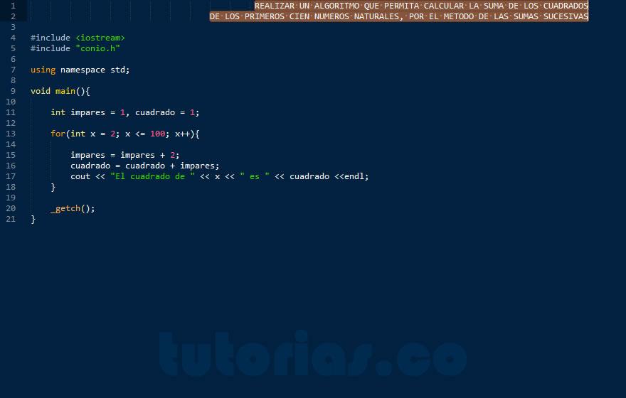 programacion en C++: suma de cuadrados por sumas sucesivas