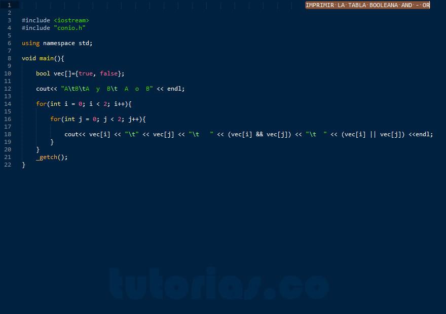 programacion en C++: tablas booleanas AND - OR