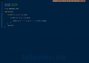 programacion en C++: tablas de multiplicar