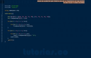 programacion en C++: traspuesta de una matriz