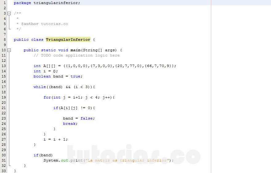 programacion en java: triangular inferior