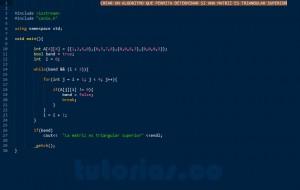 programacion en C++: triangular superior de una matriz