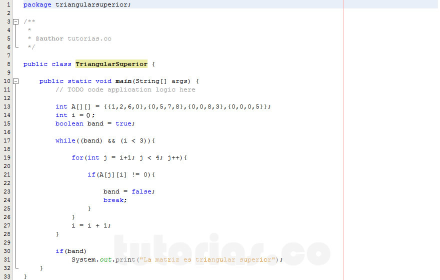 programacion en java: triangular superior