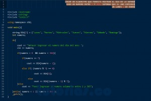 programacion en C++: hallar el dia de la semana