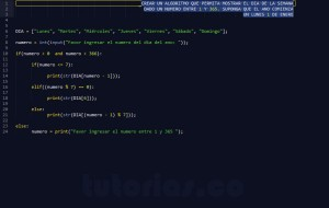 programacion en python: hallar el dia de la semana