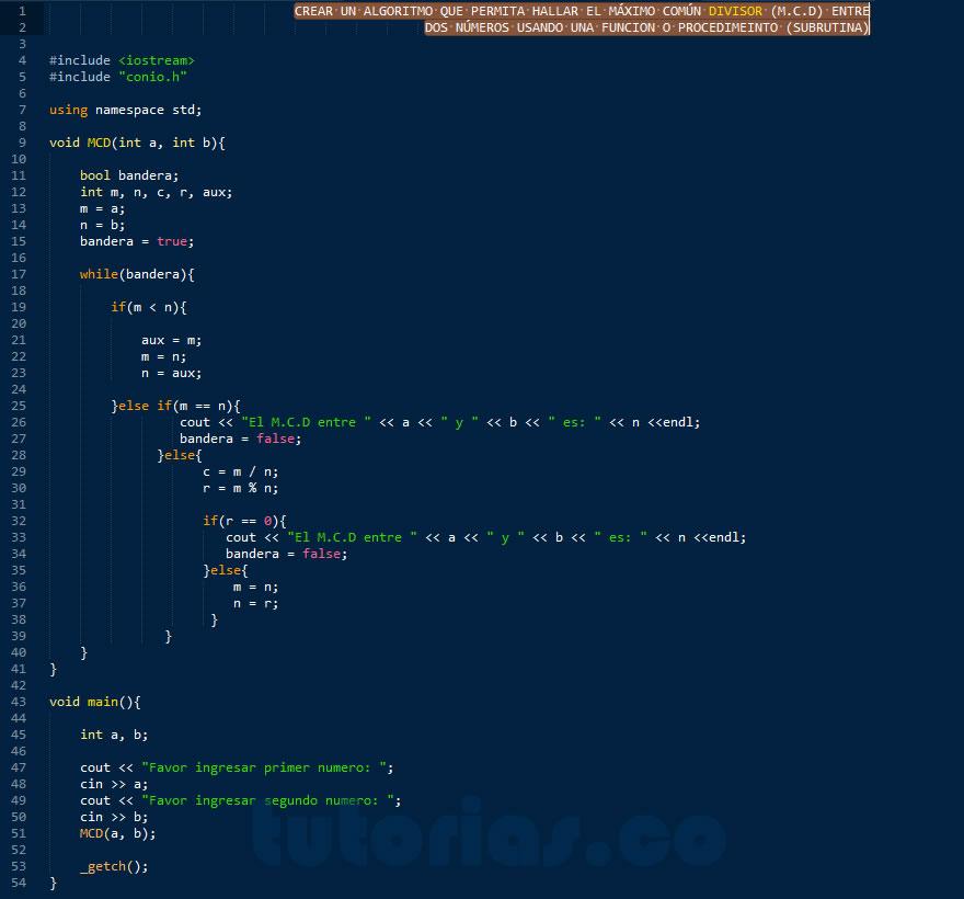 programacion en C++: hallar el maximo comun divisor entre dos numeros