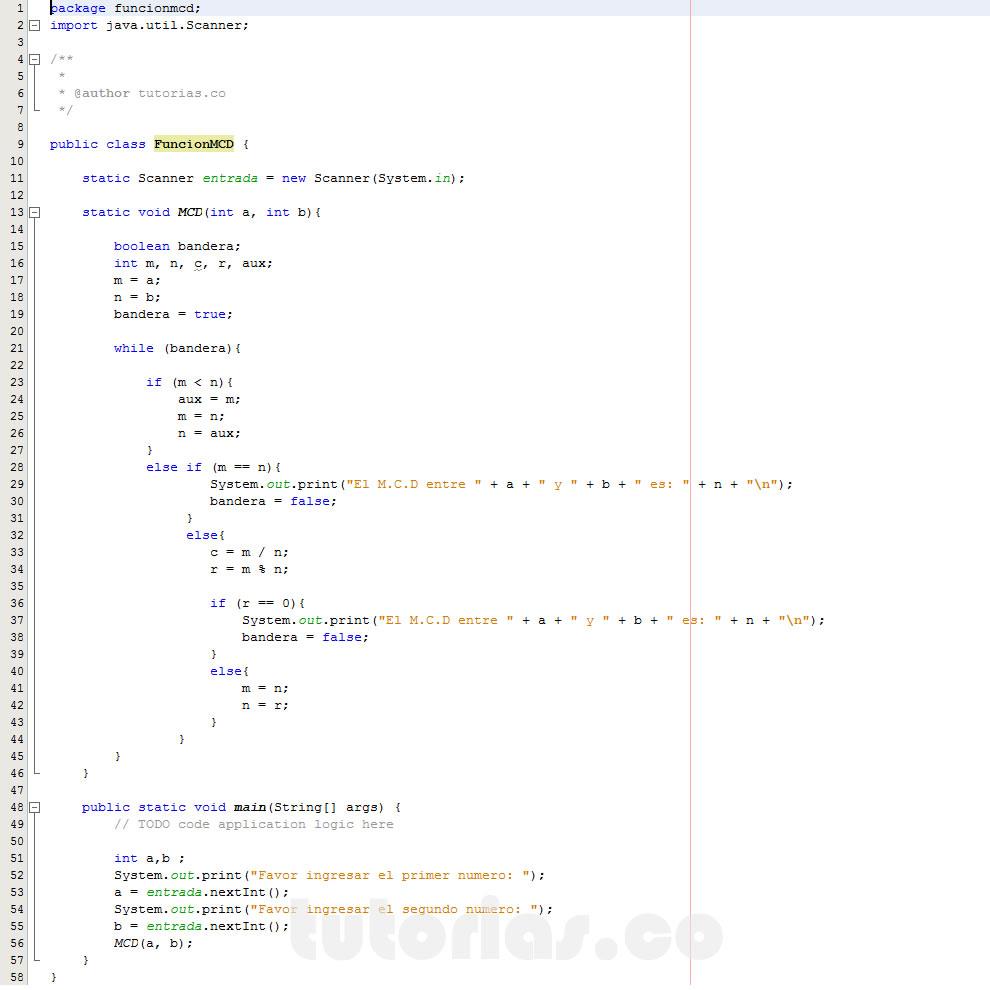 programacion en java: hallar el maximo comun divisor entre dos numeros