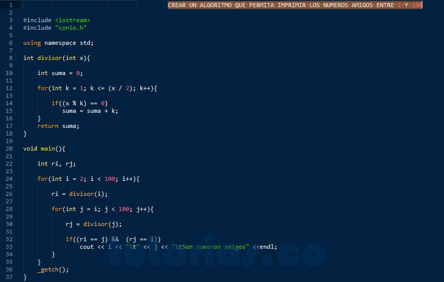 programacion en C++: hallar los numeros amigos del 1 al 100
