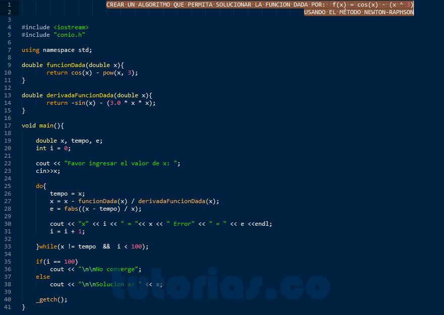 programacion en C++: metodo newton raphson