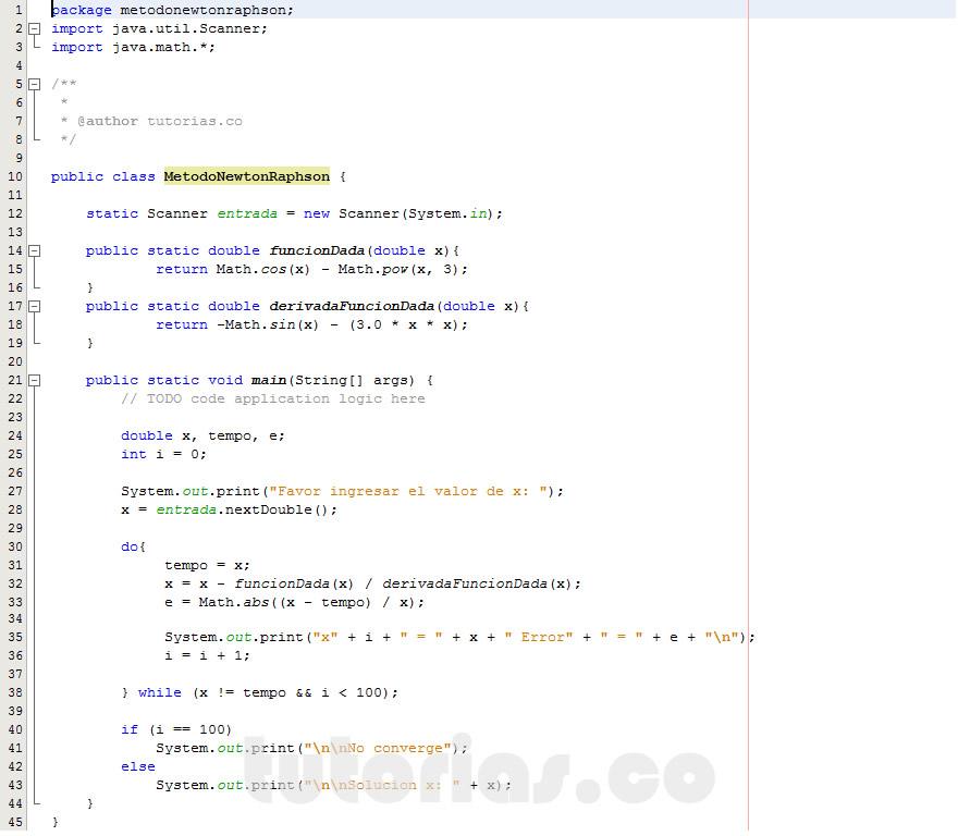 programacion en java: metodo newton raphson