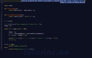 programacion en python: metodo newton raphson