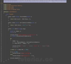 programacion en c#: metodo newton raphson