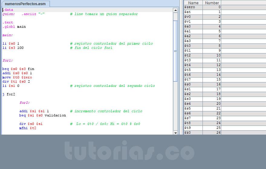 programacion assembly: numeros perfectos