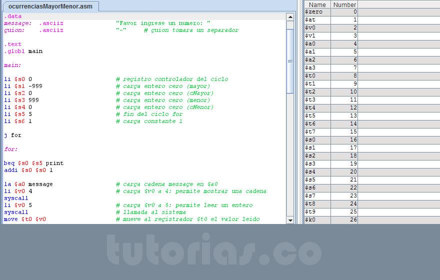programacion assembly: ocurrencias mayor y menor