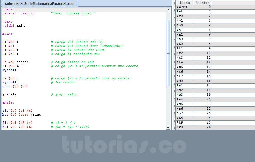 programacion assembly: sobrepasar serie matematica factorial