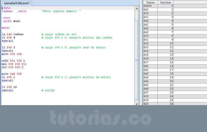 programacion assembly: la suma del 1 al n