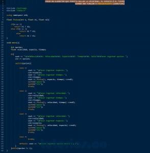 programacion en C++: hallar velocidad, espacio y tiempo