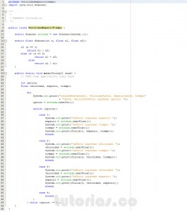 programacion en java: hallar velocidad, espacio y tiempo