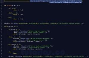programacion en python: hallar velocidad, espacio y tiempo