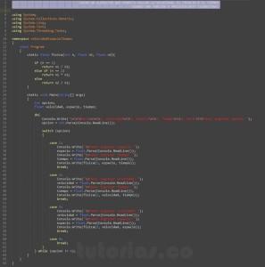 programacion en c#: hallar velocidad, espacio y tiempo