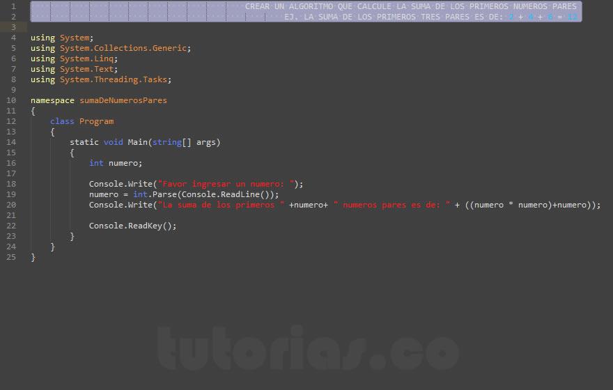 programacion en c#: suma de numeros pares