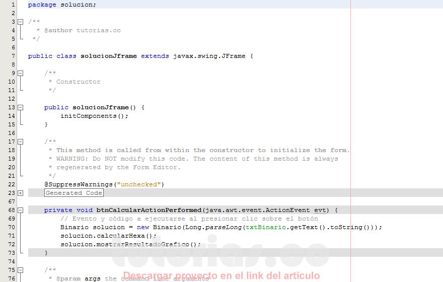 programacion en java: convertir de binario a hexadecimal