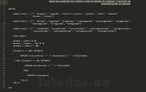 programa en pseudocodigo: mostrar numero cardinal a ordinal