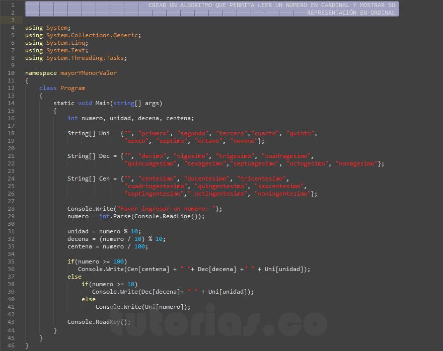 programacion en c#: mostrar numero cardinal a ordinal