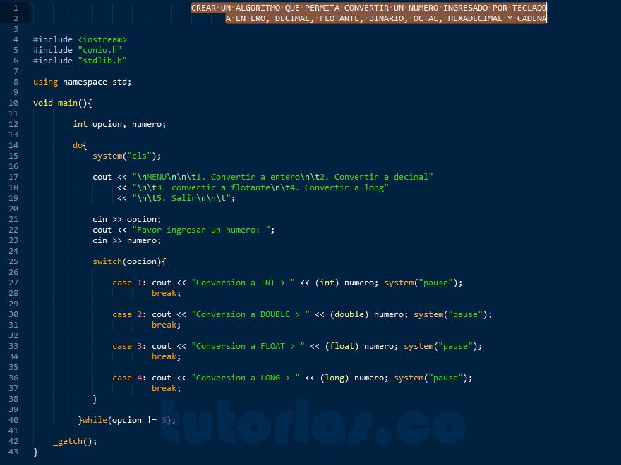 programacion en C++: conversion de datos